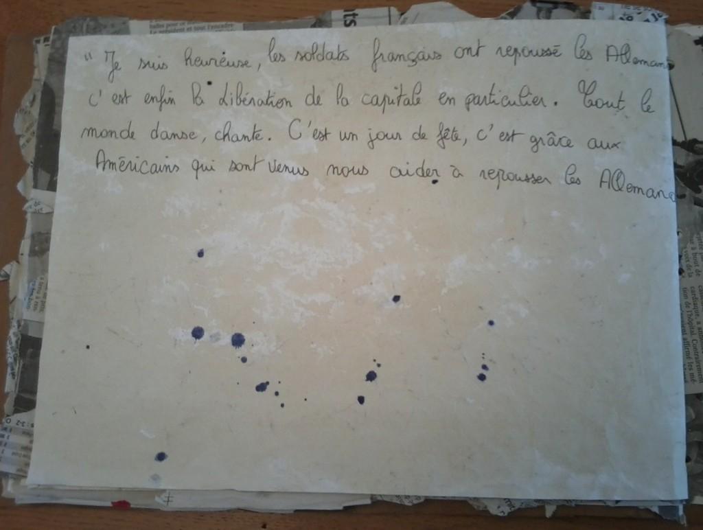 """Texte """"Je suis heureux ..."""" en référence à la Libération."""