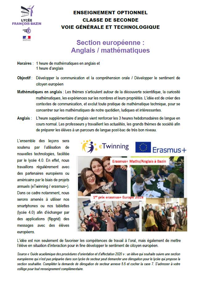 Enseignement optionnel classe de seconde et techno section euro