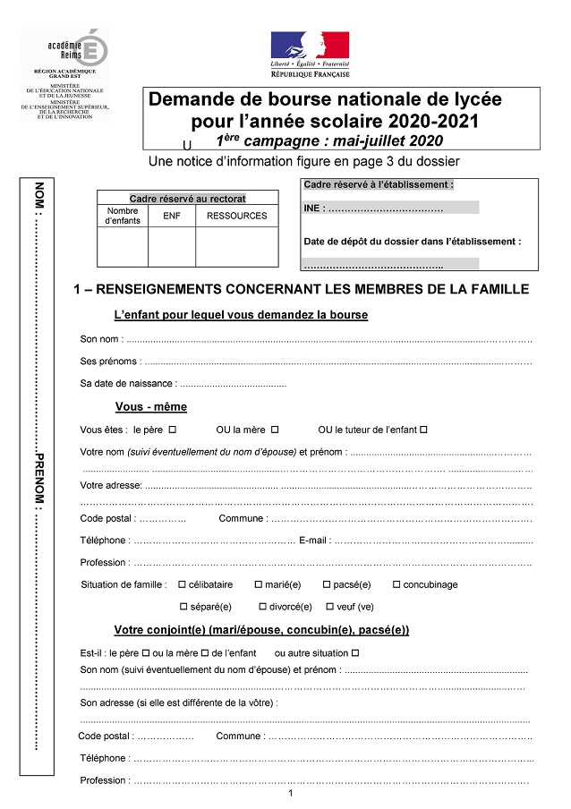 2020 Modele dossier bourses 1ere camp 2020 2021 Page 1