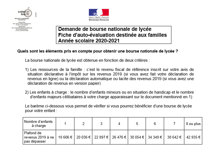 Auto évaluation bourse nationale lycée 2020 2021