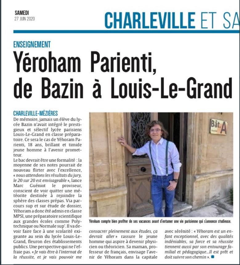Article presse Yéroham Parienti juin 2020